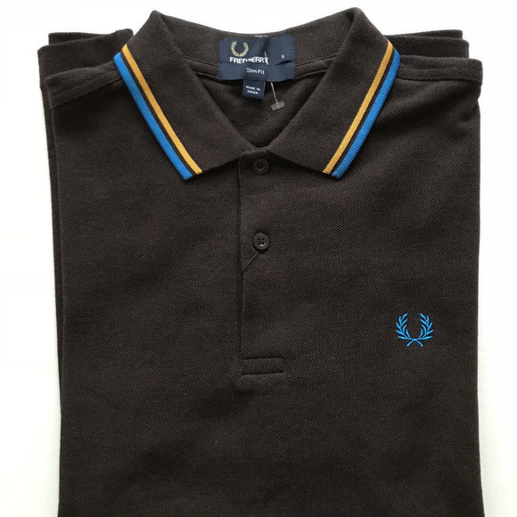 750aefcec Fred Perry S Slim Fit Twin Tipped Polo Brown NWT